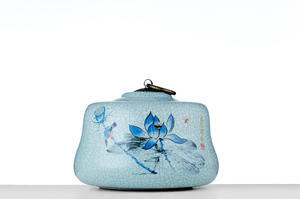 Half Cylinder Tea Caddy With Crackle Glaze And Picture Of Blue Lotus Flowers