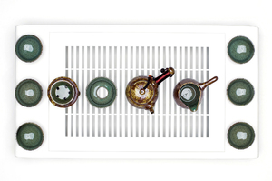 Tea Set With Greenish Brown Mottled Glaze For Traditional Chinese Tea Ceremony