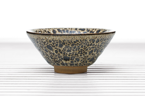 Conical Tea Bowl With Beige And Brown Mottled Glaze