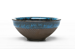 Deep Flared Tea Bowl With Blue Crackle Glaze