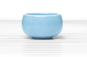 Roundish Tea Bowl With Sky Blue Crackle Glaze