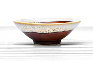 Maroon Conical Tea Bowl With White Spotted Rim And Golden Leaf Pattern