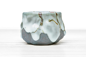 Bluish Drip Glazed Cylindrical Tea Bowl